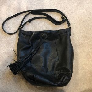 Black leather bucket bag- cross body